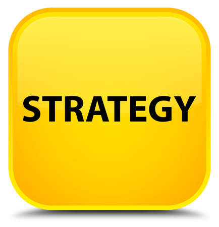 Strategy isolated on special yellow square button abstract illustration