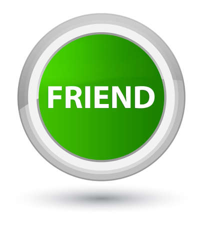 Friend isolated on prime green round button abstract illustration Stock Photo
