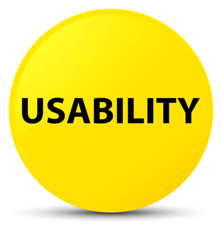 Usability isolated on yellow round button abstract illustration