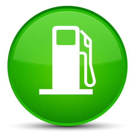 filling station: Fuel dispenser icon isolated on special green round button abstract illustration Stock Photo