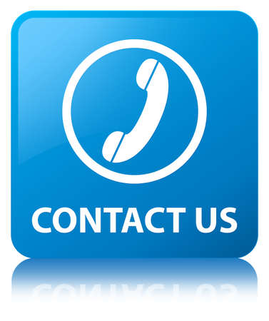 Contact us (phone icon) isolated on cyan blue square button reflected abstract illustration