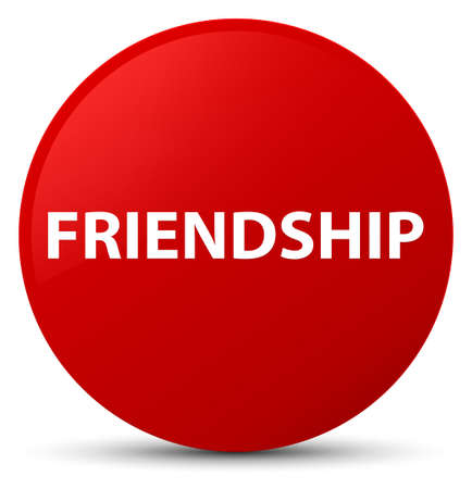 Friendship isolated on red round button abstract illustration