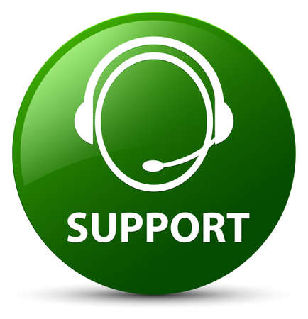 Support (customer care icon) isolated on green round button abstract illustration