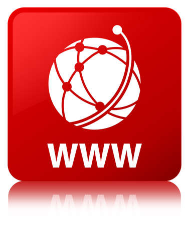 WWW (global network icon) isolated on red square button reflected abstract illustration Stock Photo