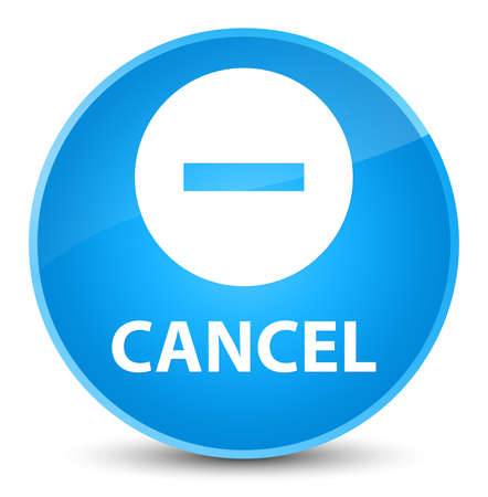Cancel isolated on elegant cyan blue round button abstract illustration Stock Photo