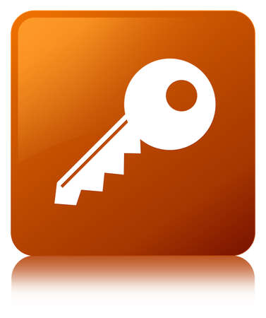 Key icon isolated on brown square button reflected abstract illustration Фото со стока