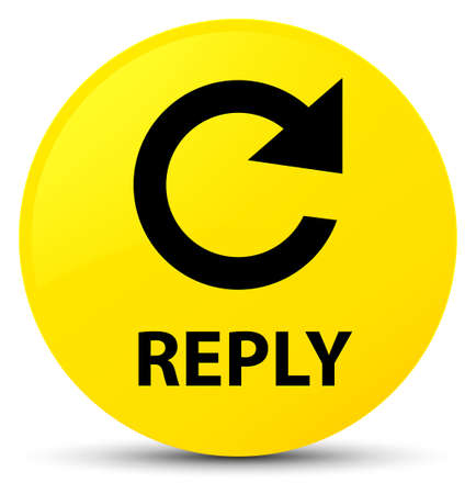 Reply (rotate arrow icon) isolated on yellow round button abstract illustration