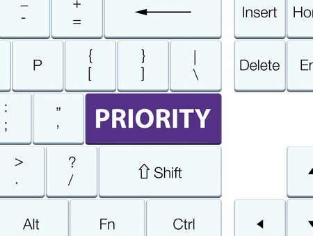 Priority isolated on purple keyboard button abstract illustration Фото со стока
