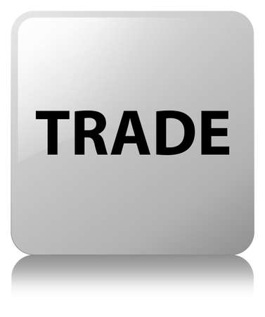 Trade isolated on white square button reflected abstract illustration
