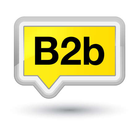 b2b: B2b isolated on prime yellow banner button abstract illustration Foto de archivo