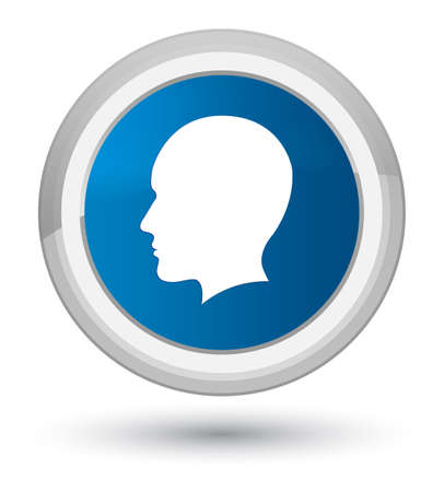 Head men face icon isolated on prime blue round button abstract illustration Stock Photo