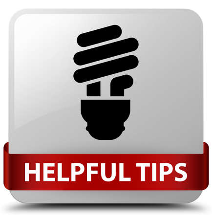 Helpful tips (bulb icon) isolated on white square button with red ribbon in middle abstract illustration