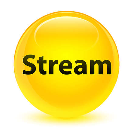 Stream isolated on glassy yellow round button abstract illustration