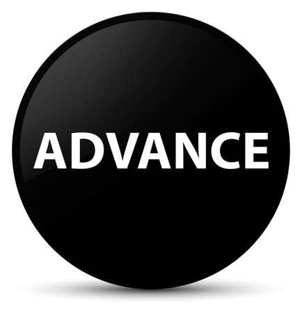Advance isolated on black round button abstract illustration Stock Photo