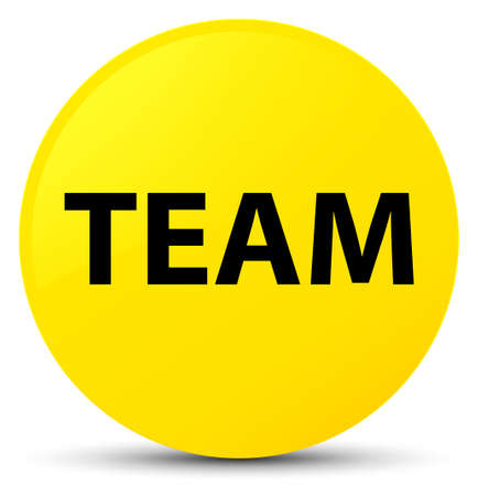 troupe: Team isolated on yellow round button abstract illustration Stock Photo