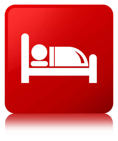 Hotel bed icon isolated on red square button reflected abstract illustration Stock Photo