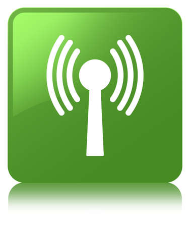 Wlan network icon isolated on soft green square button reflected abstract illustration