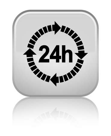24 hours delivery icon isolated on special white square button reflected abstract illustration Stock Photo