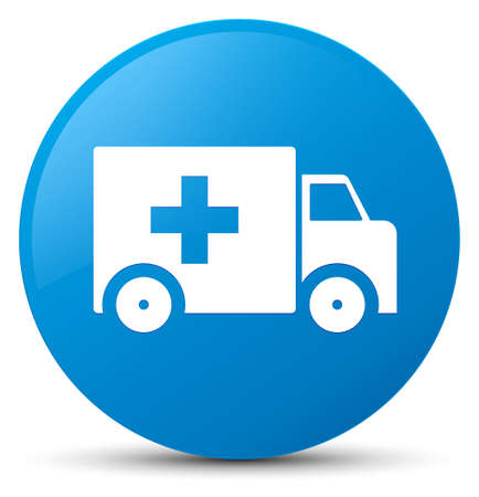 Ambulance icon isolated on cyan blue round button abstract illustration