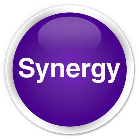 Synergie op abstracte illustratie die van de premie de purpere ronde knoop wordt geïsoleerd Stockfoto