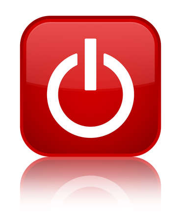 Power icon isolated on special red square button reflected abstract illustration