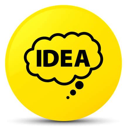 hint: Idea bubble icon isolated on yellow round button abstract illustration Stock Photo