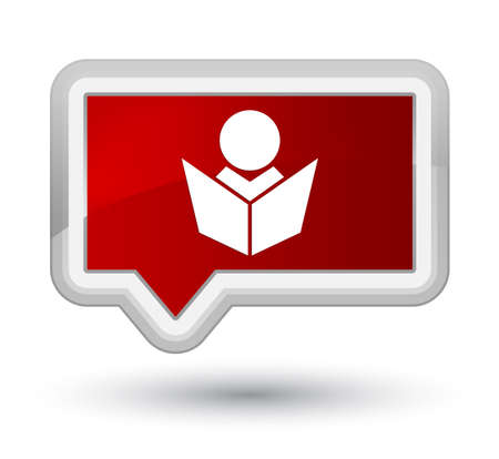 Elearning icon isolated on prime red banner button abstract illustration Stock Photo