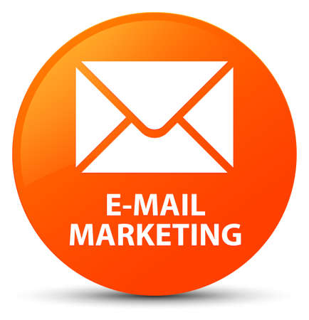 E-mail marketing isolated on orange round button abstract illustration