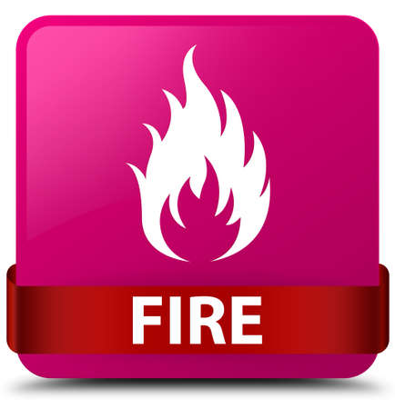 Fire isolated on pink square button with red ribbon in middle abstract illustration