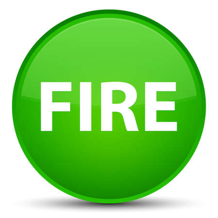 Fire isolated on special green round button abstract illustration Stock Photo