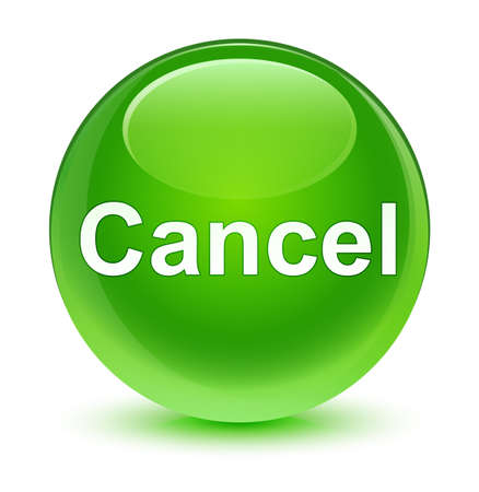 Cancel isolated on glassy green round button abstract illustration Stock Photo