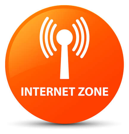 Internet zone (wlan network) isolated on orange round button abstract illustration Stock Photo