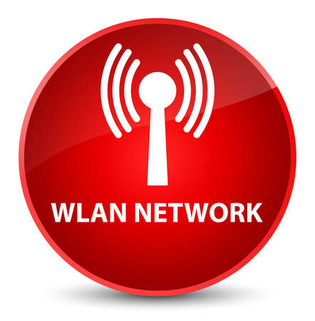 Wlan network isolated on elegant red round button abstract illustration