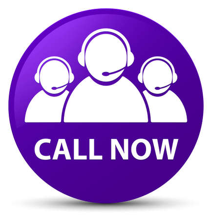 representative: Call now (customer care team icon) isolated on purple round button abstract illustration
