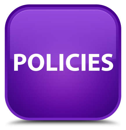 Policies isolated on special purple square button abstract illustration