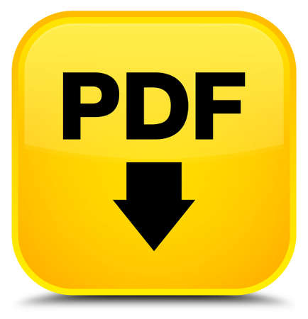 PDF download icon isolated on special yellow square button abstract illustration