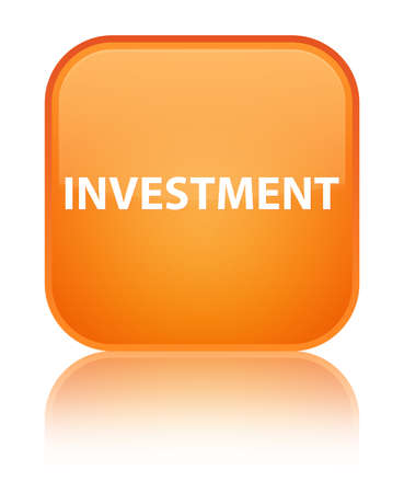 Investment isolated on special orange square button reflected abstract illustration Stock Photo