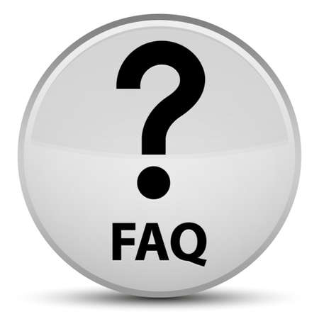 Faq (question icon) isolated on special white round button abstract illustration