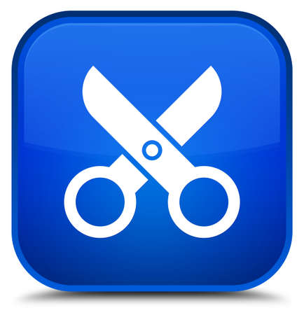 Scissors icon isolated on special blue square button abstract illustration