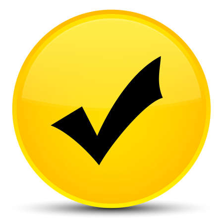validation: Validation icon isolated on special yellow round button abstract illustration