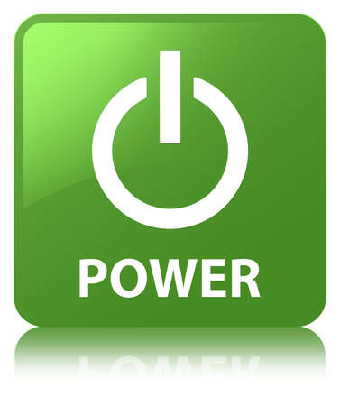 Power isolated on soft green square button reflected abstract illustration
