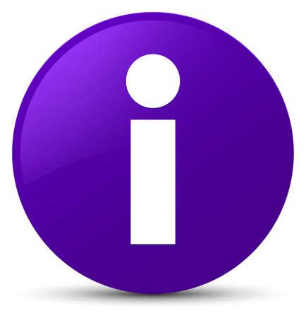 Info icon isolated on purple round button abstract illustration Stock Photo