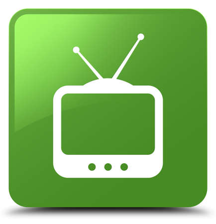 antennas: TV  icon isolated on soft green square button abstract illustration