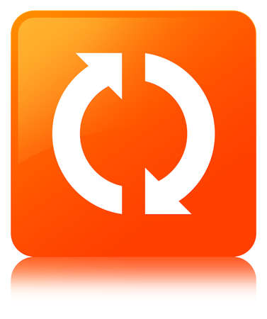 Update icon isolated on orange square button reflected abstract illustration Standard-Bild