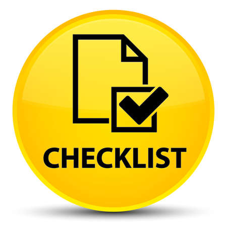 Checklist isolated on special yellow round button abstract illustration