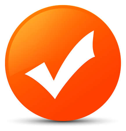 Validation icon isolated on orange round button abstract illustration