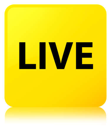 Live isolated on yellow square button reflected abstract illustration Stock Photo