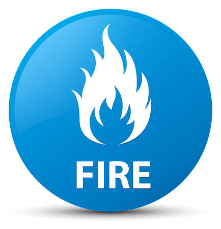 Fire isolated on cyan blue round button abstract illustration Stock Photo