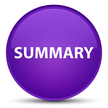 Summary isolated on special purple round button abstract illustration