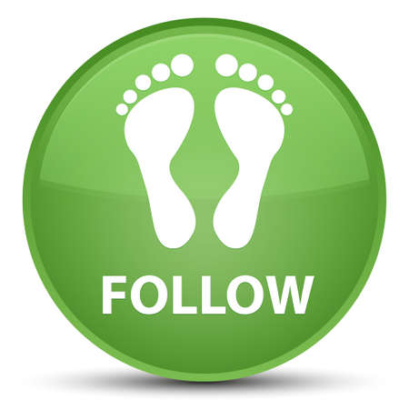 Follow (footprint icon) isolated on special soft green round button abstract illustration